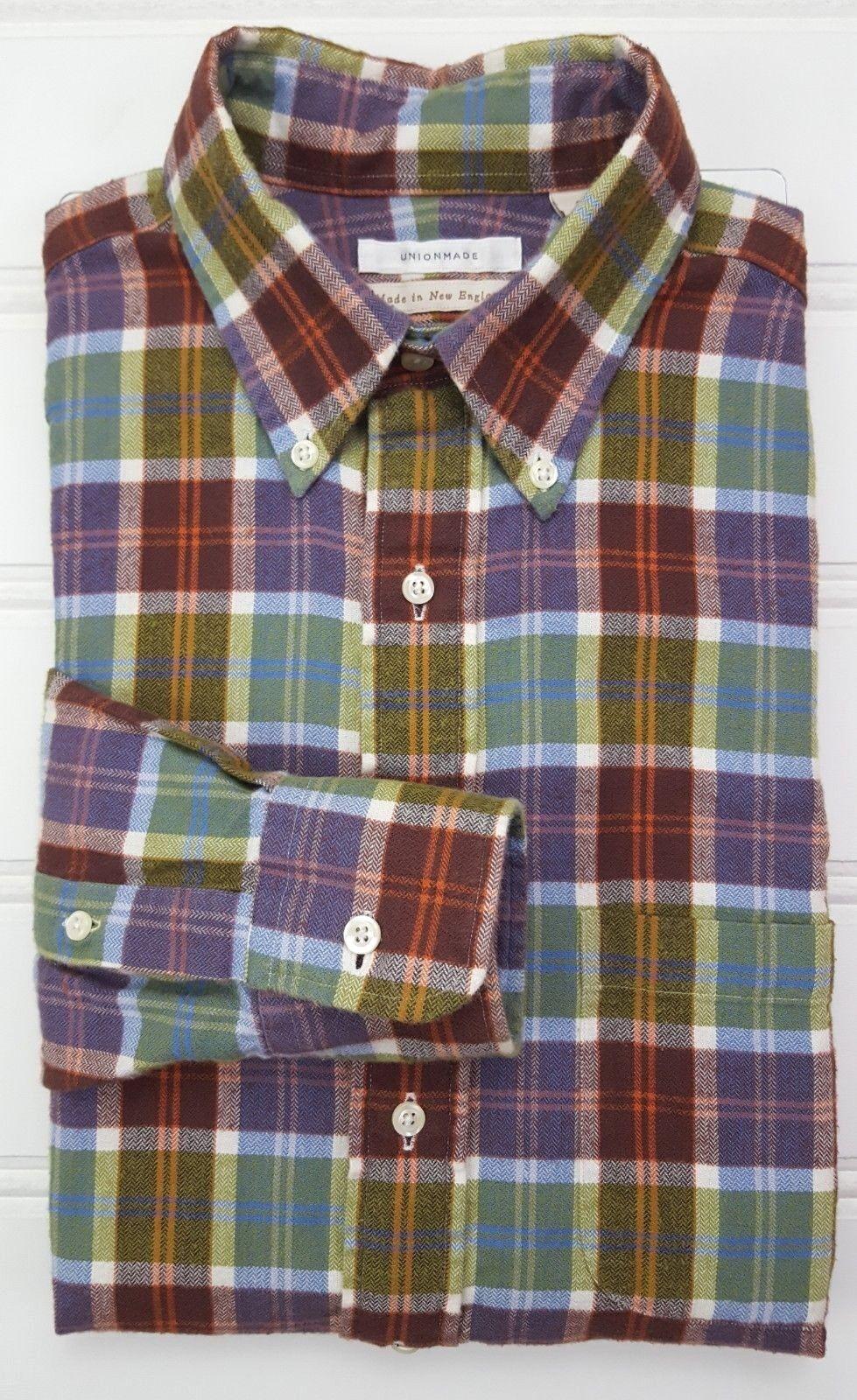 Unionmade Camicia di Flanella S Multicolore Plaid Quadri da Uomo Nuovo England