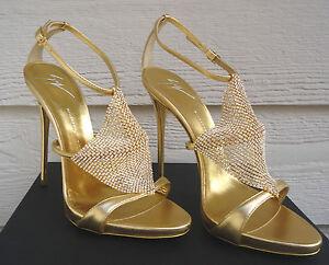 NEW 95 Giuseppe Zanotti 39.5 Coline Metallic Gold Crystal Mekong Rhinestone