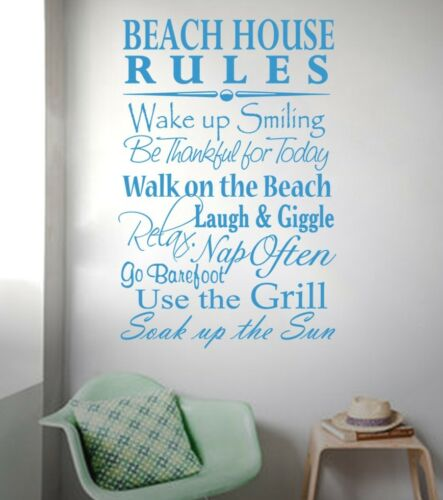 Beach House Rules Vinyl Lettering Quote for Room Decor Wall Art Decal Stickers