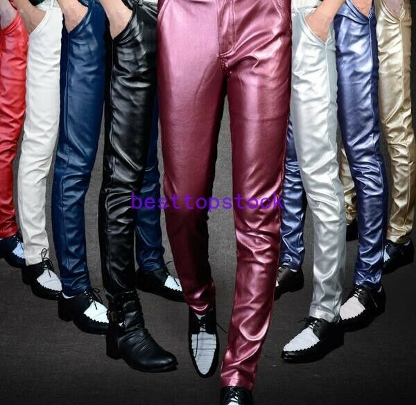 Shiny Men Motorcycle Straight Pencil Pants Punk PU Leather Long Silm Trousers sz