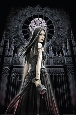 PICTURE PRINT NEW ART 61X91CM ANNE STOKES DARK ANGEL RED ROSE POSTER