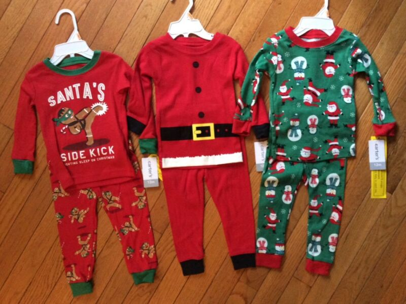 NWT Girl/'s or Boy/'s CARTER/'S Green Red Santa Snowman Sleeper Pajama Outfit 12M