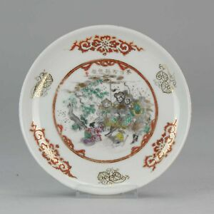 Antique-19th-c-Japanese-Porcelain-Plate-Calligraphy-Warriors-marked-Base