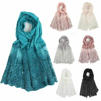 Women stoned diamante lace edge floral embroidered neck wrap up head scarf