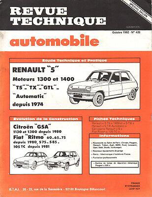 Rta Revue Technique Automobile N° 426 Renault 5 R5 Ts Tx Gtl Om Een Gevoel Op Gemak En Energiek Te Maken