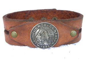 Authentic-Cincuenta-centavos-Mexican-coin-Bison-leather-customize-cuff-bracelet