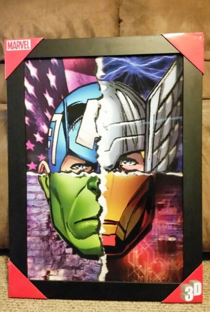 Marvel Avengers 3d 4-face Framed Wall Art Size 20 X 27 - | eBay