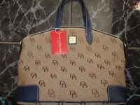 Dooney & Bourke Canvas W/ Blue Trim Initial Satchel Sample Sale Exclusive Purse