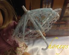 """For 15""""-18"""" Girl Dolls BLUE and WHITE LACE UMBRELLA / PARASOL Opens and Closes"""
