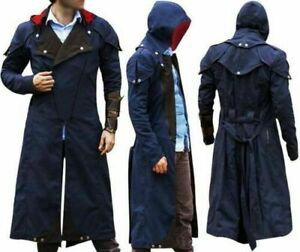 Unity Creed Arno Assassin S Dorian Denim Blue Cloak Cosplay Coat