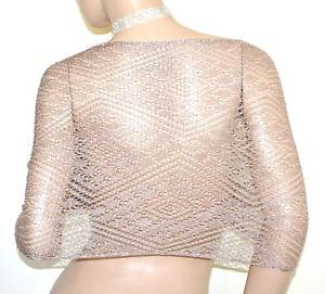 più foto cdfaf f8a40 Details about STOLA ORO ROSA coprispalle scialle filo donna maxi foulard a  rete traforato A70