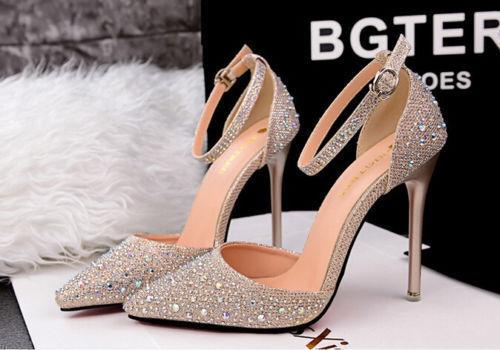 Damen Business Pumps Abendschuhe high heels stiletto 10.5 Damenschuhe gold 8657