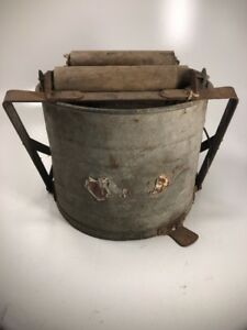 Vintage White Mop Bucket Heavy Duty Galvanized Metal Tub