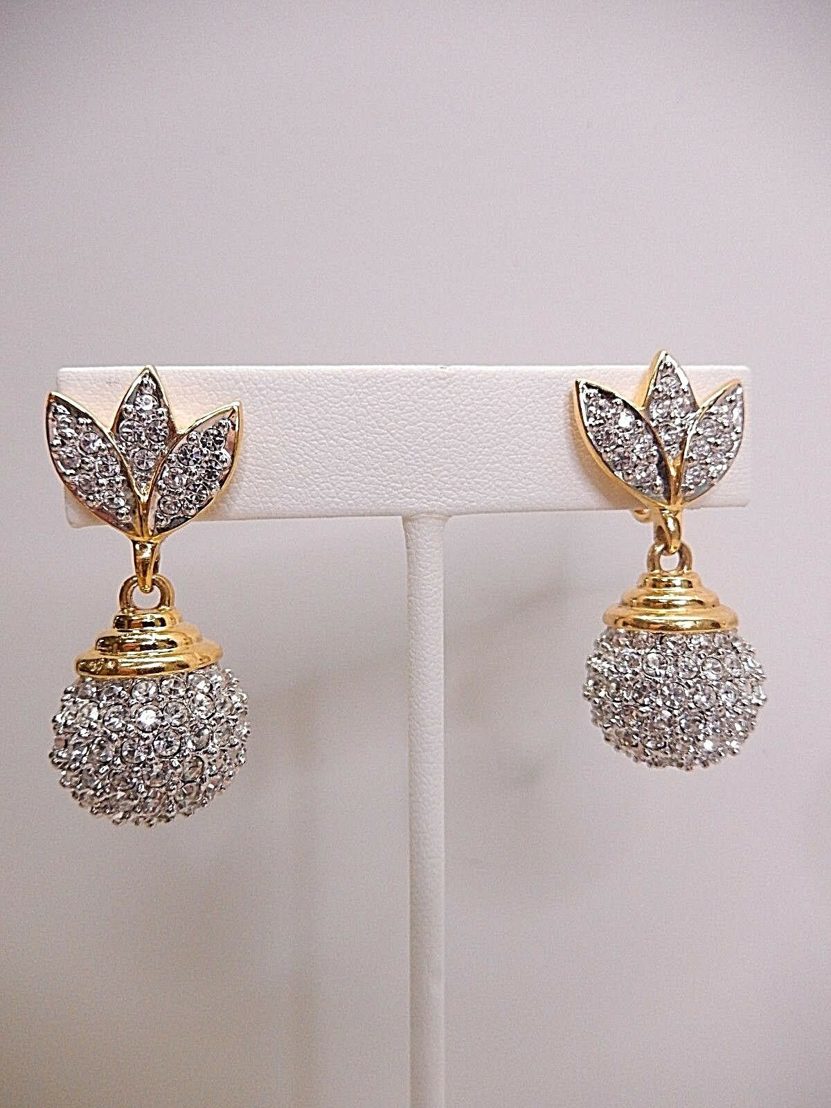 Signed Swarovski Earrings Clear Crystal Pave Ball Dangle gold Plated Clip On