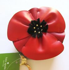 Kate Spade Poppy Flower Coin Purse in Black /red Leather Zip Around Closure