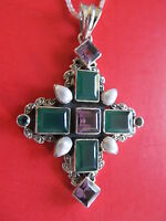 Nicky Butler 11.25ct Amethyst Multigemstone Cross Necklace More Hot Items Mg