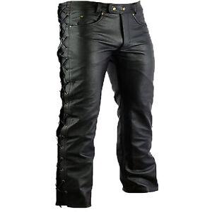 hombre-pantalones-de-cuero-Motorista-Moto-Negro-Todas-Las-Tallas-Hasta-60