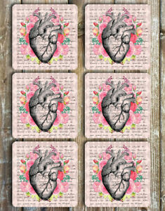 Floral Heart Coasters Set of 6 Non Slip Neoprene Drink Coasters