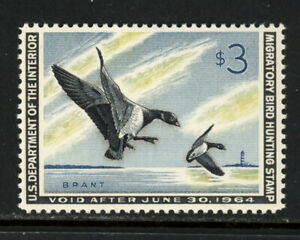 SCOTT RW30 1963 $3 DUCK STAMP ISSUE MNH OG VF CAT $110!