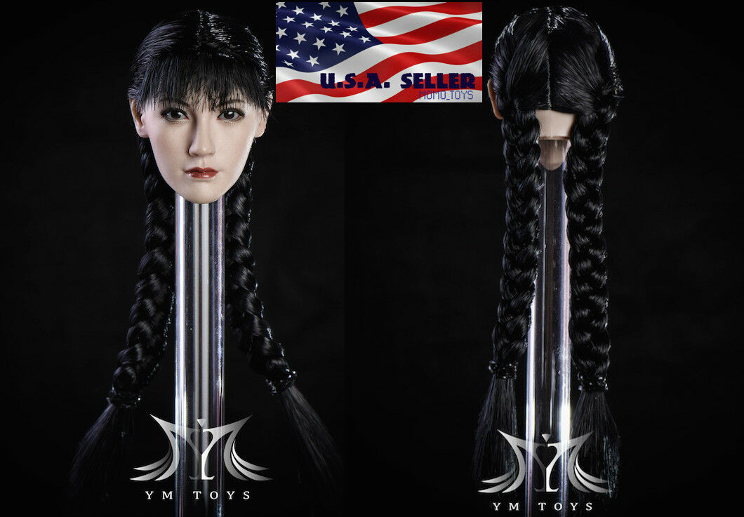 1 6 Asian Female Head Sculpt Braided Hair For 12  PHICEN Hot Toys Figure ❶USA❶