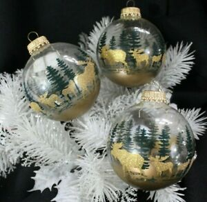 Details About Lot Of 3 Vintage Krebs Gold Glitter Moose Trees Clear Glass Christmas Ornaments