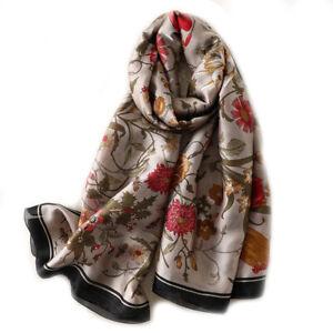 Foulard-180-X-90-cm-100-Pure-Soie-Gris-motif-Floral-Silk-seide-scarf-shawl