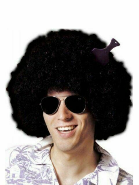 Mens High Quality 70s Disco Dude Brown Afro Wig 80s Fancy Dress Accessory Hair