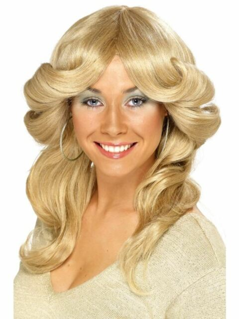 70s Flick Wig Blonde Long Wavy & Layered, 1970's Disco Fancy Dress, One Size #CA