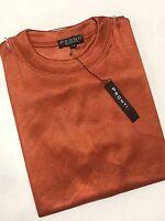Mens Solid Summer Short Sleeves Mock Neck Shirts Pronti Collection Orange
