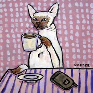 siamese-cat-at-a-coffee-shop-animal-art-tile-picture-animals-impressionism