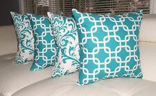 Turquoise Decorative Throw Pillows, Geometric Pillow, Damask Pillow - Set of 4