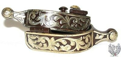 Western Ball End Spurs - Brown Iron and Silver Floral ...