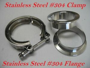 """2.75/"""" inch Turbo Exhaust Down Pipe Stainless #304 V-Band Vband Clamp w// 2Flang"""