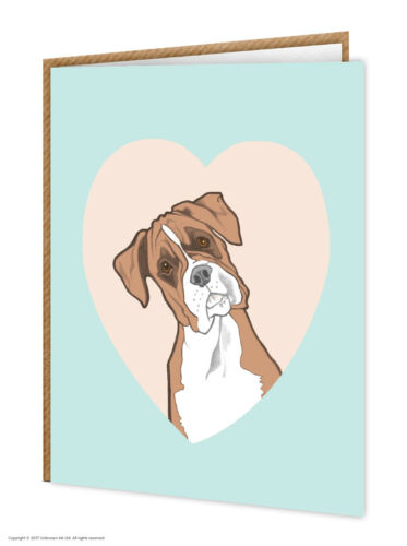 Gift Card Cute Birthday Present Dog Lovers Heart Xmas Boxer