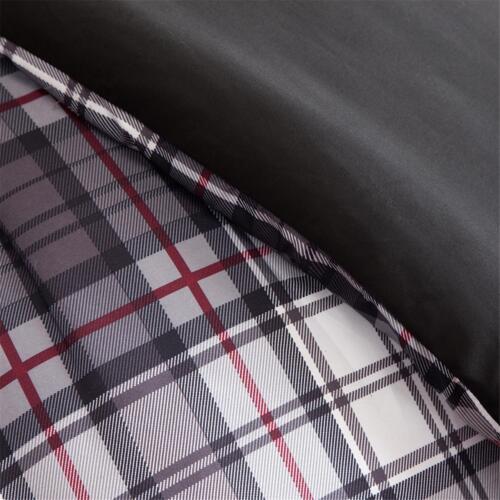MODERN BLACK GREY RED WHITE PLAID STRIPE BOYS COZY SPORTY COMFORTER SET /& PILLOW