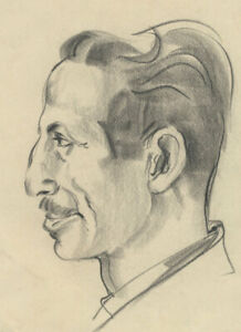 Peter Collins ARCA - c.1970s Charcoal Drawing, Study of Man with Moustache
