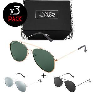 Tris-occhiali-da-sole-TWIG-Pack-FLAT-specchio-uomo-donna-goccia-vintage-aviatore