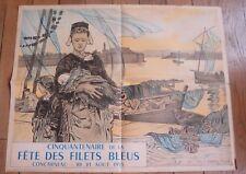 CONCARNEAU AFFICHE cinquantenaire de le fete des Filets Bleus 1955