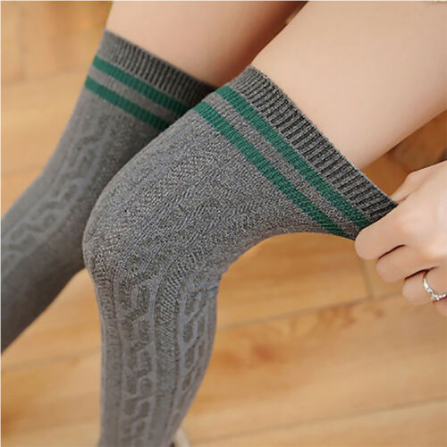 Fashion Women Girl Cotton Long Socks Stripe Sports Over Knee Thigh High Stocking