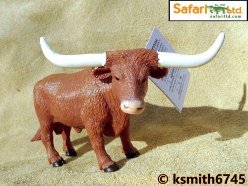 NOUVEAU * Safari Texas Longhorn Taureau solide Jouet en plastique Ferme Pet Animal Marron Vache