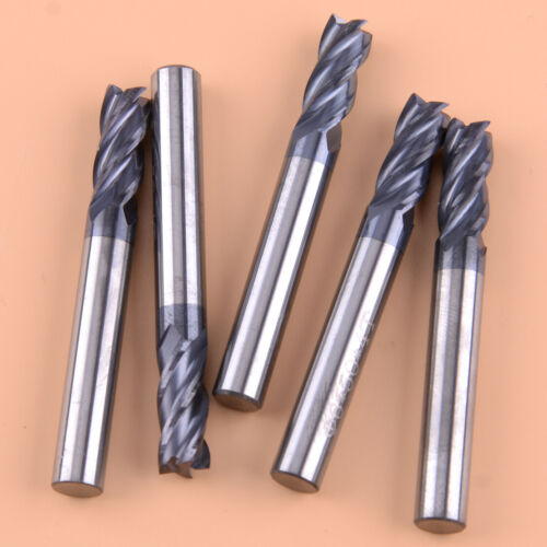 5 Pcs 4 Flute 6mm x 50mm End Mill Solid Carbide Tialn Coated Cnc Bit Tool NEW