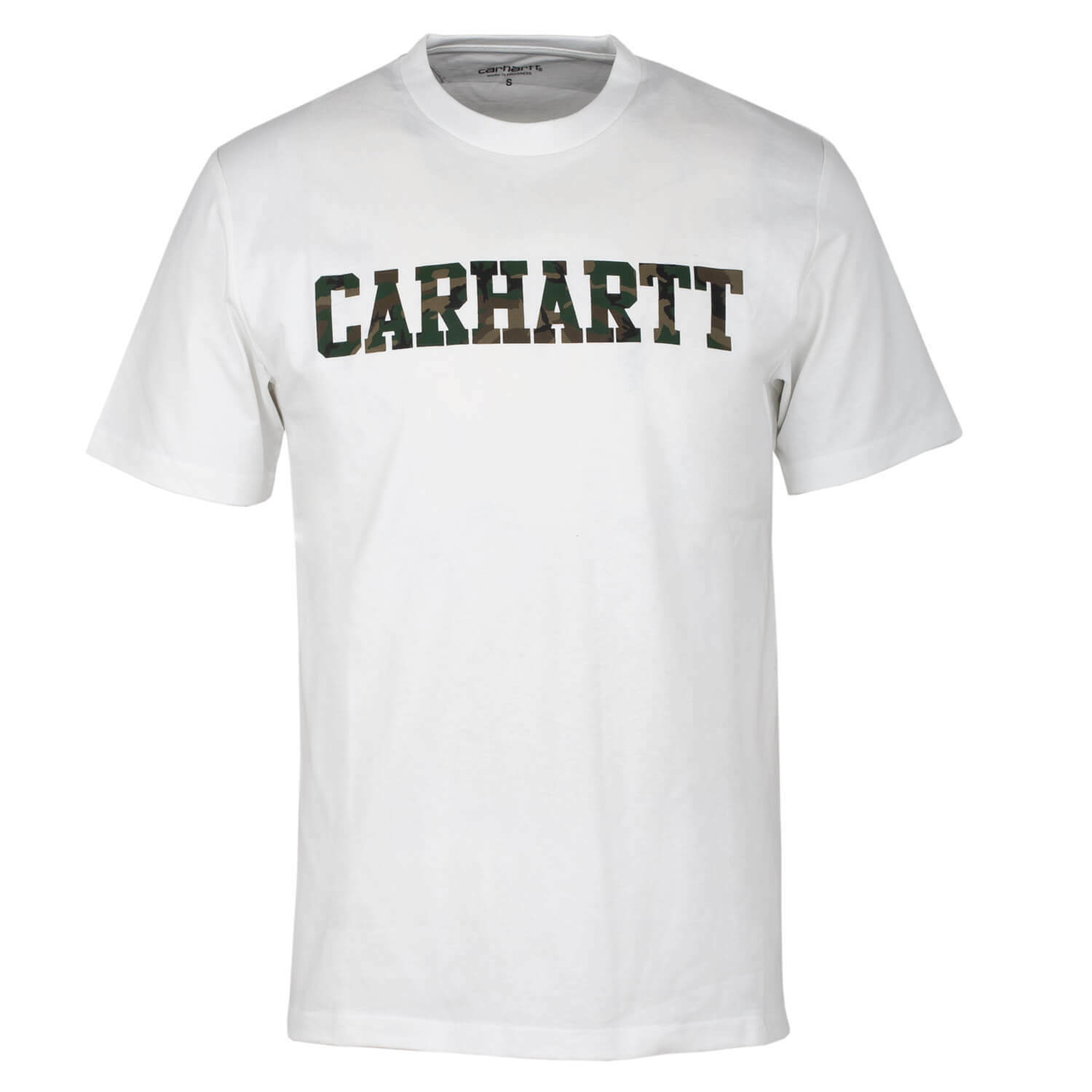 Carhartt College Logo T-Shirt White Camo - Men's T-Shirt with Carhartt Logo