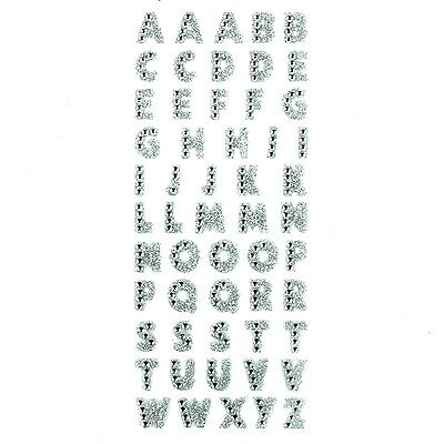 Glitter Crystals 26 Alphabet Letters Stickers Self Adhesive Words Stick On CA