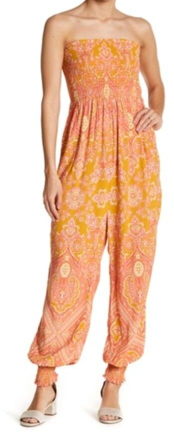 NWT Free People Thinking Of You Women's Jumpsuit, yellow multi, XS