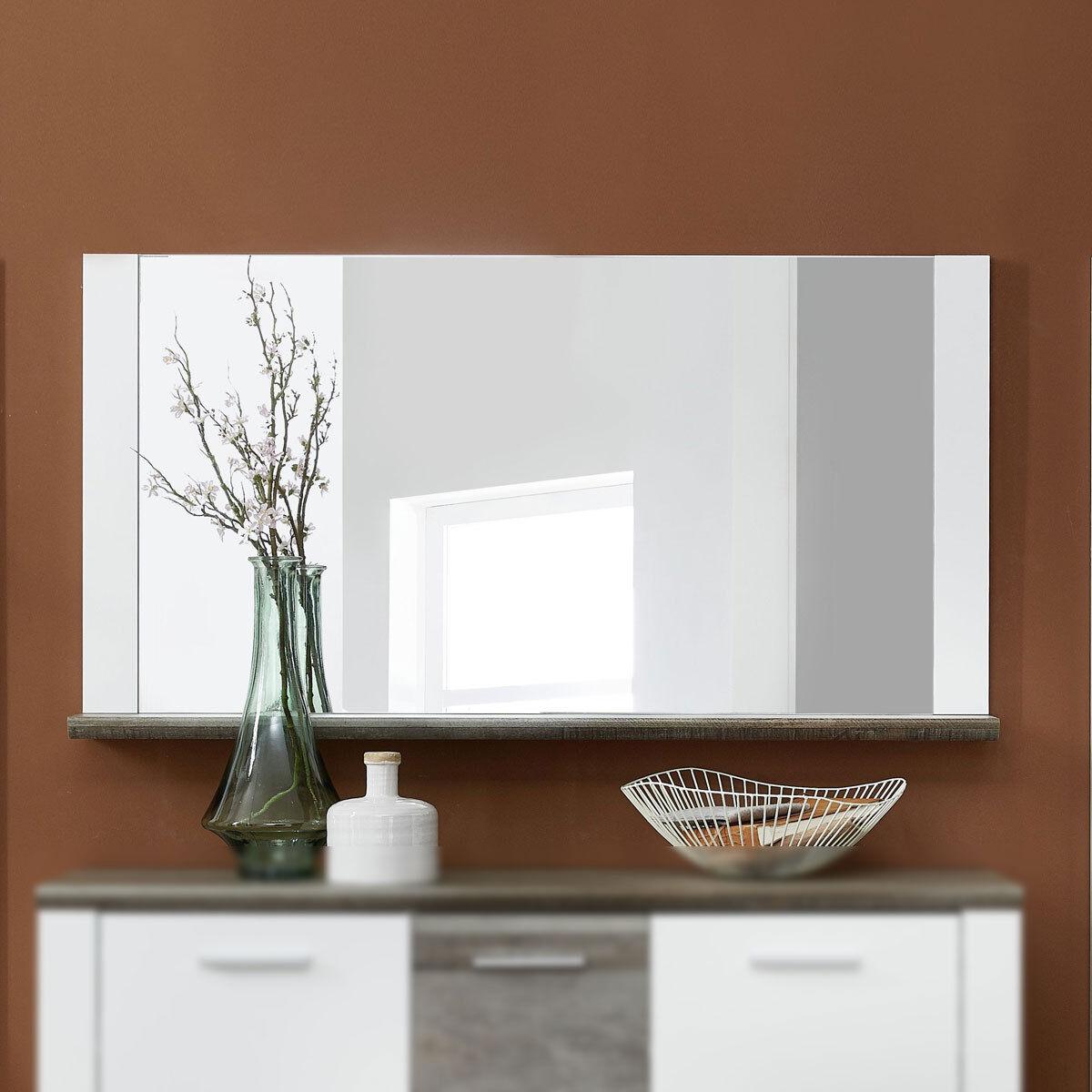 Spiegel Mateo Wandspiegel Dielenmöbel Flurmöbel in weiß und Driftwood 131x70 cm