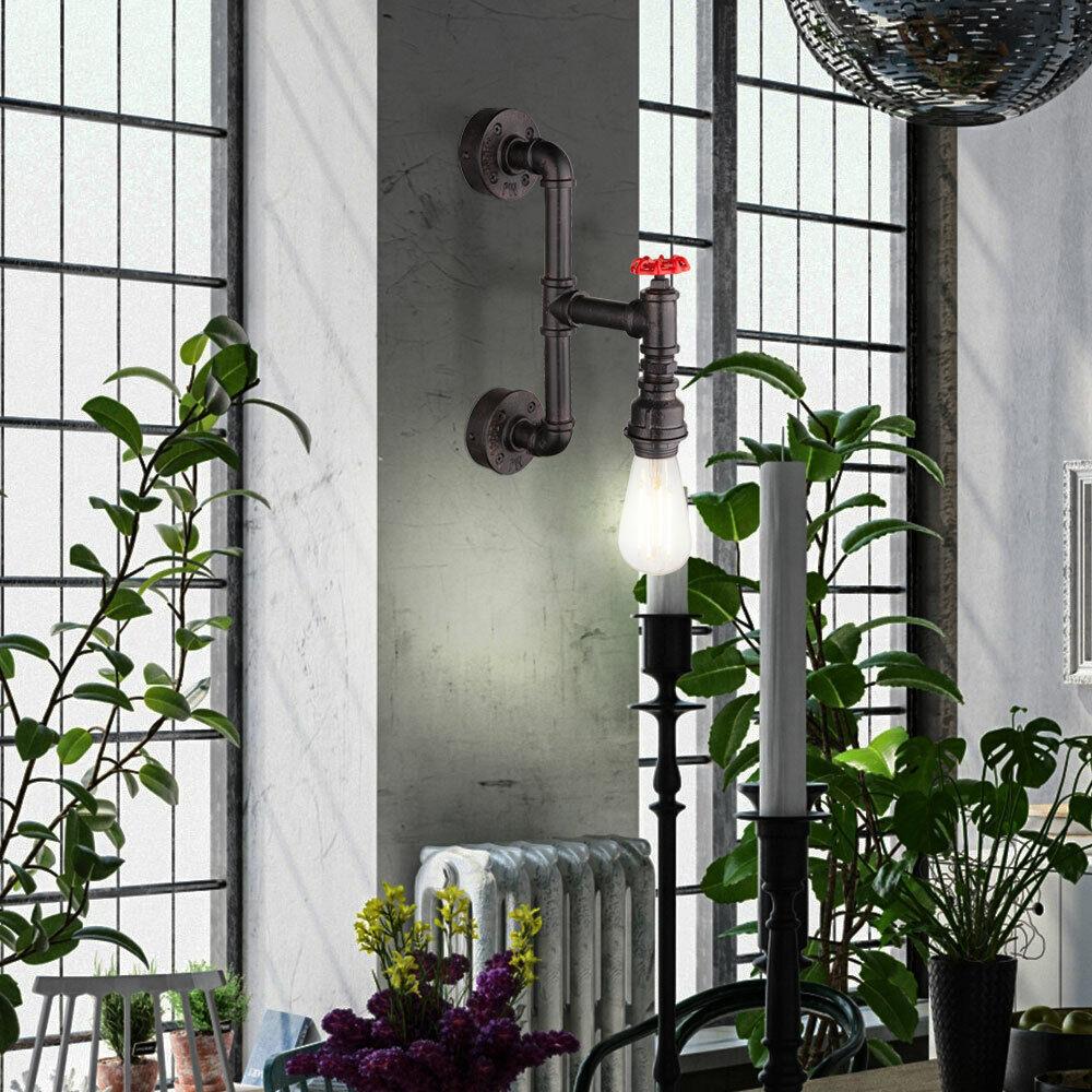 LED Wand Lampe Wasser Rohr Hahn Retro Strahler Flur Glas Leuchte Big Light