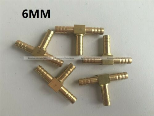 5*6//8//10//12mm Tee Brass T 3 Way Hose Barb Connector Joiner Fitting Air Water Gas