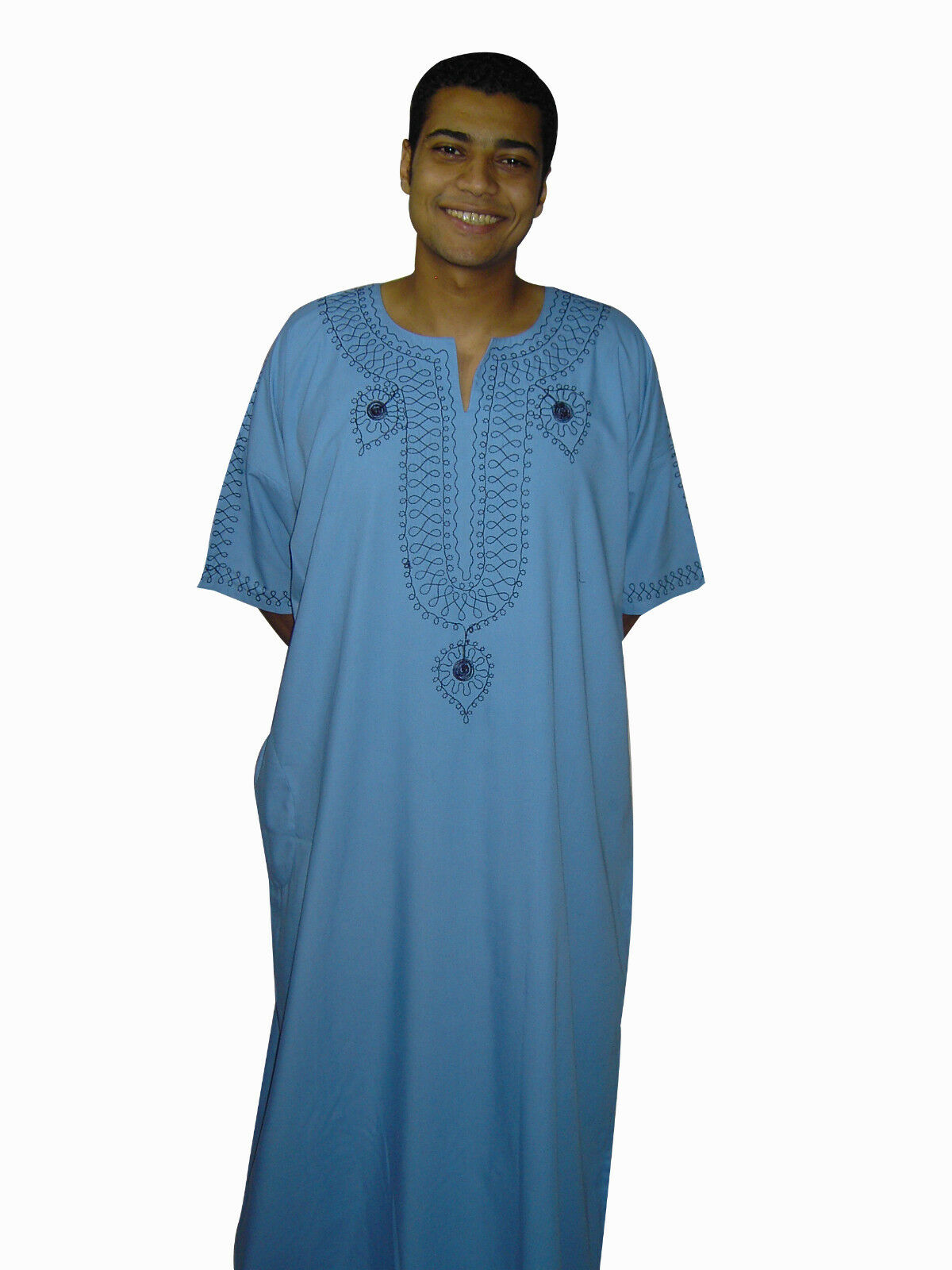 Modern Men's Caftan Housecoat Aus1001 Night Light bluee Kam00541