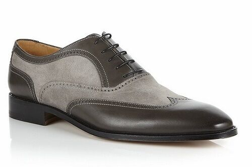 Handmade Men wingtip gray and black black and shoes, Men suede and leather dress shoes 5dc15d