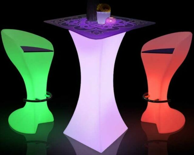 US Seller Color Changing LED Bar Pub Party KTV Cocktail Table Optional  Glass Top